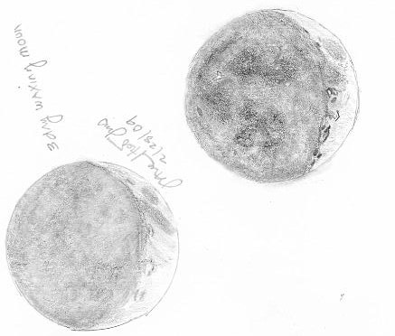sketch of 3-day old waxing moon 2-28-09
