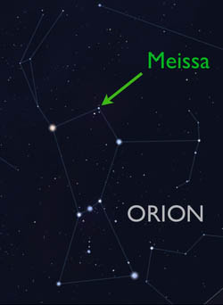 Map of constellation Orion