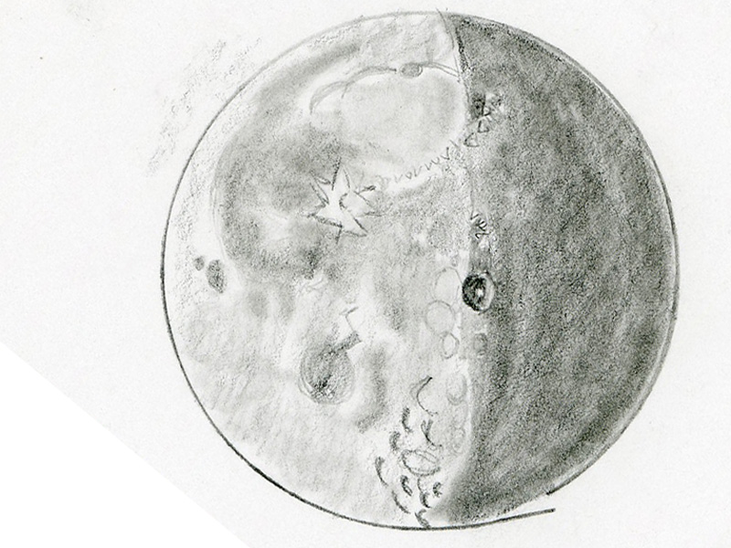 My sketch of the moon same lunar day as Galileo's engraving